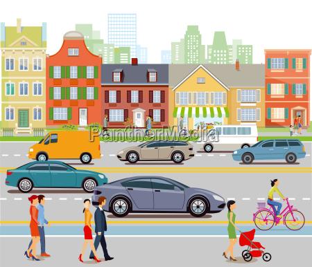 cidade com trafego e pedestrians do
