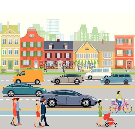 by med biltrafik og fodgaengereillustration