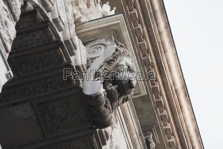 lion sculpture on a building budapest
