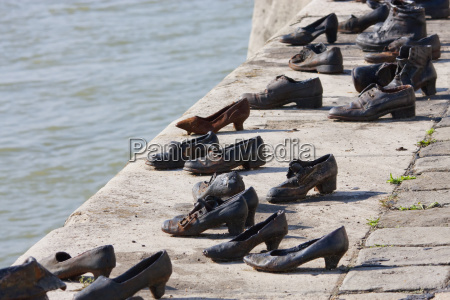 shoes on bank of danube river