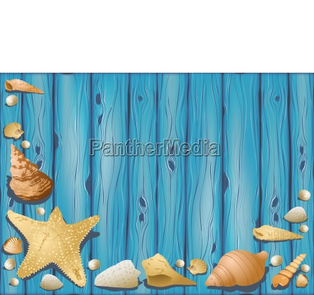 wooden background with seashells