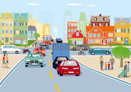 cidade com ilustracao do trafego de