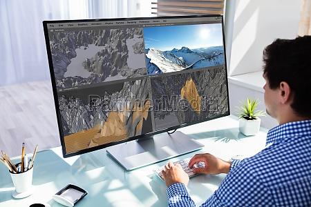 designer criativo usando software 3d