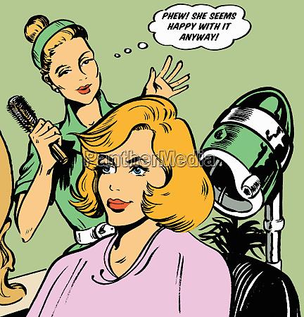 cabeleireiro expressando alivio no cabelo dos