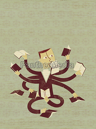 multiple armed businessman reading books
