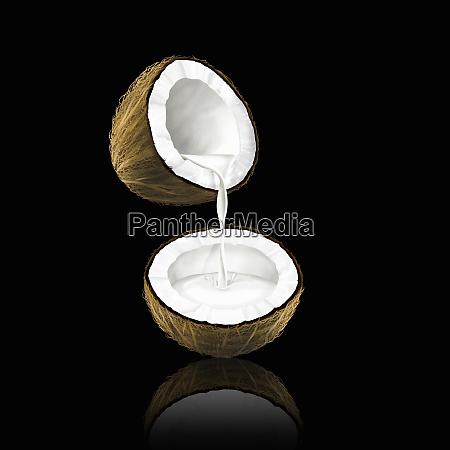 leite de coco que derrama de