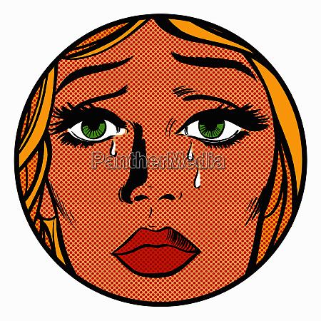 close up of face of sad