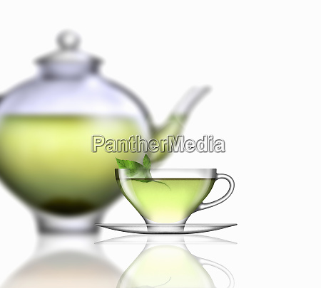 mint tea glass teacup saucer and