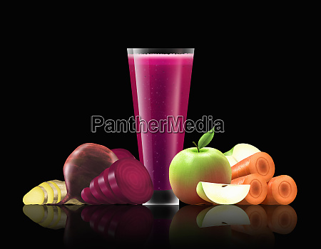 glass of beetroot apple carrot and