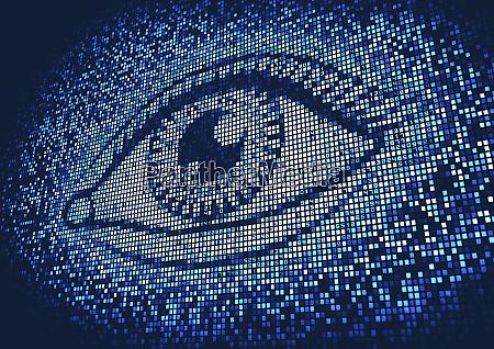 olho iluminado acima na tela de