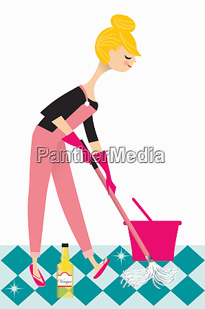 woman mopping floor with vinegar
