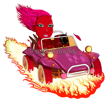 woman with devil horns riding in