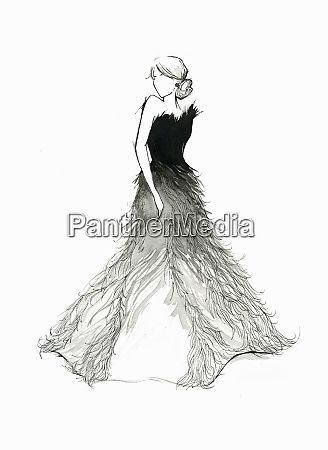 elegant woman wearing feather evening gown