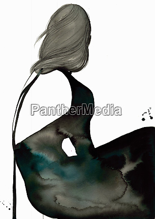 fashion illustration of woman wearing black