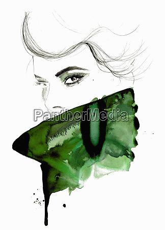 aquarell illustration von mode modell mit