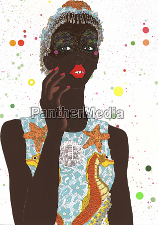 fashion illustration of woman wearing funky