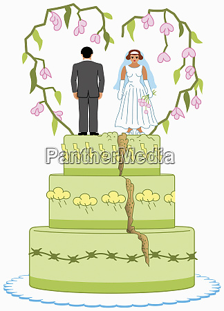 angry bride and groom on top
