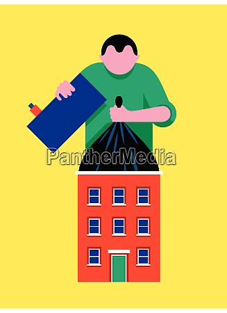person lifting large rubbish bag from