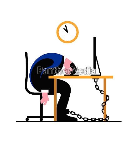 opbrugt forretningsmand laenket til skrivebord sove