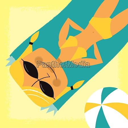 mulher, de, sorriso, que, sunbathing, na - 26028063
