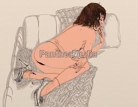 mulher, erótica, linha, refinada, e, sensual, projetado - 26138902