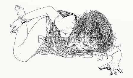 mulher, erótica, linha, refinada, e, sensual, projetado - 26138920