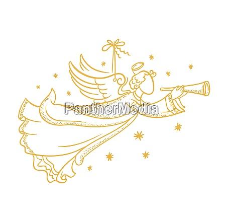 silhueta isolada dourada do anjo que