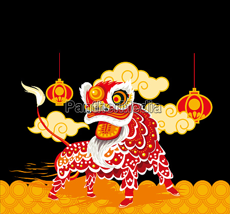 chines ano novo leao vermelho lanternas