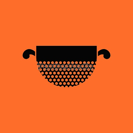 kitchen colander icon orange background with