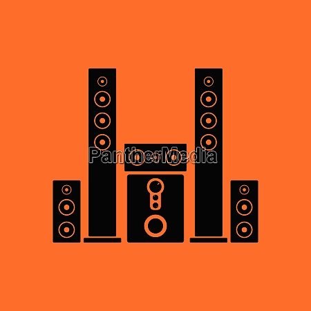 audio system speakers icon orange background