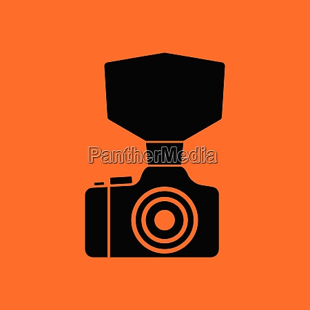 camera with fashion flash icon orange