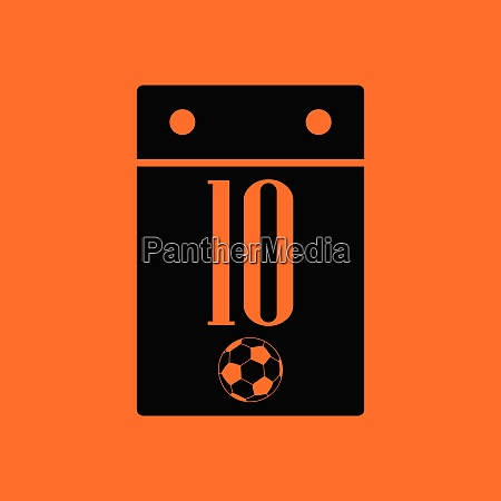 soccer calendar icon orange background with