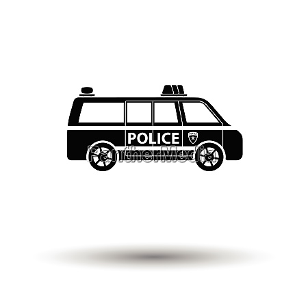 police van icon white background with