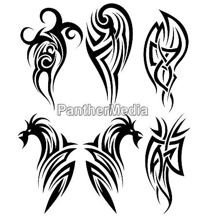 conjunto de tatuagens tribais ilustracao do