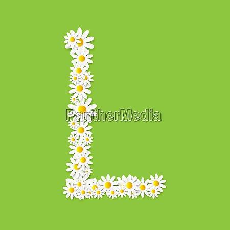 flora daisy design alfabeto vector illustartion
