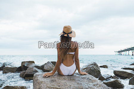 rear view of young woman wearing