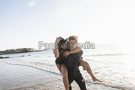 france brittany happy young man carrying