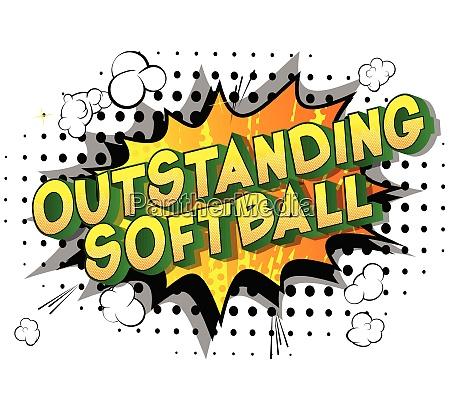 outstanding softball comic book style