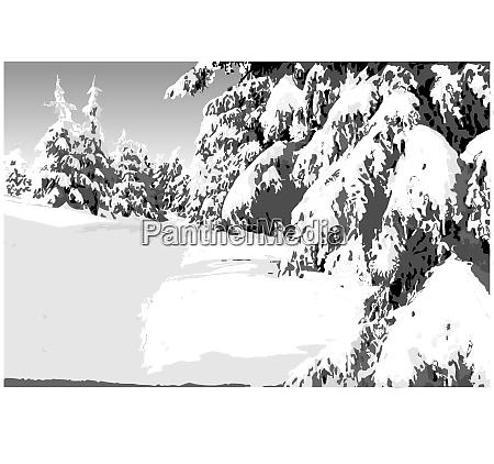painted winter landscape