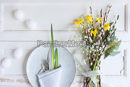 easter place setting on white vintage