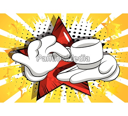 cartoon hands holding a cup of