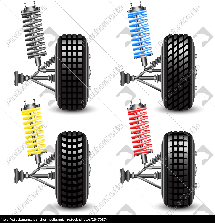 defina, suspensão, do, carro, dianteiro, vista, frontal. - 26470374