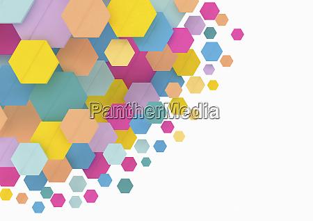 contraste entre muitos hexagonos coloridos e