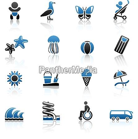 turismo recreacao ferias icones definidos