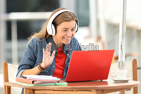 happy student having a video conference