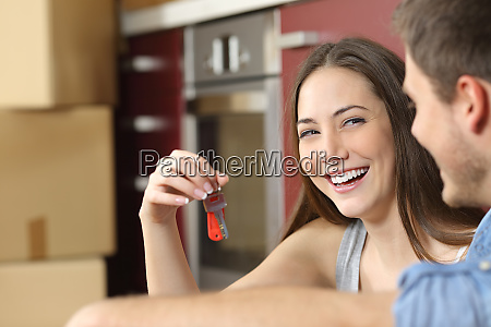 felizes, novos, proprietários, de, apartamentos, mostrando - 26577803