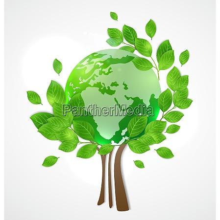 planeta terra e arvore verde cartao