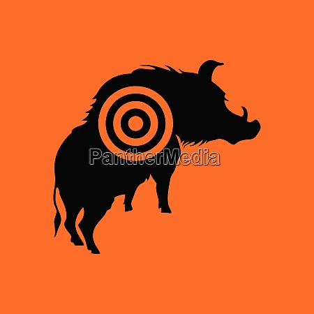 boar silhouette with target icon orange