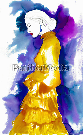 fashion illustration of woman wearing frilly