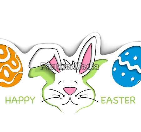 happy easter greeting card in cut